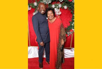Former Deputy Premier and attorney, Mrs R. Dancia Penn-Sallah, QC, right, and husband Baboucar Sallah at the 75th birthday celebration of Mrs Patsy C. Lake. Photo: Cecil Alex Jeffrey