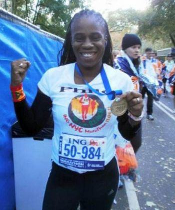 Philomena Robertson, pictured here at the 2011 NYC Marathon, has targeted qualification for the 2016 Olympic Marathon in Rio and has not only been training hard to achieve her goal but also steadily reducing her times across all distances. Photo: Supplied