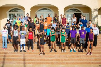 Group photo of all the participants in the Elite Relay Exchange at the 25th Edition of the Mourant H. Lavity Stoutt Community College Classics Finale in Paraquita Bay, Tortola. Photo: Michael Jack/HLSCC