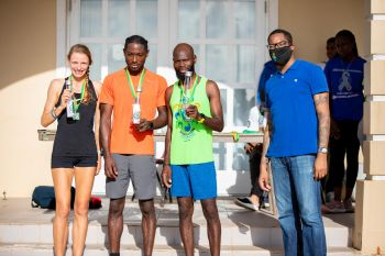 9. Team Supers runners Katrina Lindsay, Julius Farley and Jermain Ricketts receiving their awards at the Elite Relay Exchange in the 25th Edition of the Mourant H. Lavity Stoutt Community College Classics Finale in Paraquita Bay, Tortola. Photo: Michael Jack/HLSCC