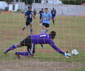 Young Junaane Morton in the Bregado Flax goal made several saves and interceptions to keep ESHS at bay until finally conceeding a penalty in the second half. Photo: Charlie E. Jackson/VINO