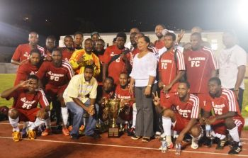 The Islanders, although in controversial fashion, avenged their humiliating defeat to Sugar Boys in the Wendol Williams Cup Final when they were declared winners of the Terry Evans Cup Final on Sunday November 11, 2012. Photo: Charlie Jackson/VINO