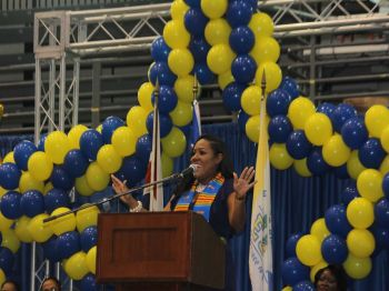 The keynote speaker was international gospel recording artist Ashaala Shanae Jenkins who advised the graduates to never give up on their passion and to always work hard no matter what the circumstances are in life. Photo: VINO