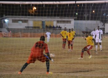 The icing on the Islanders cake arrived courtesy of a penalty kick calmly slotted home by Valdo Anderson, who had been on the receiving end of several crunching tackles all evening. Photo: Charlie E. Jackson/VINO