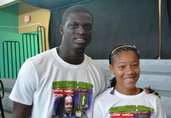 The London 2012 Olympic Games and 2011 IAAF World 400m Champion, Kirani James, spoke to the youths about the importance of balancing school with track and making sure they always gave their best. Photo: Charlie E. Jackson/VINO