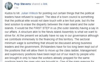The Facebook post by Pop Stevens today, December 4, 2017, supporting Mr Julian Willock's call for sectoral minimum wage in the Virgin Islands and a town council for the sister islands. Photo: Facebook