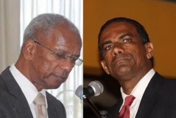 Deputy Premier and Minister for Natural Resources and Labour Dr The Honourable Kedrick D. Pickering (R7), right, has also contradicted Premier Dr The Hon D. Orlando Smith (AL), left, when he warned of 'dark, dark days ahead'. Photo: VINO/File