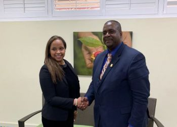 Premier and Minister of Finance Honourable Andrew A. Fahie (R1), right, shakes hands with Her Excellency Ambassador Keisha A. McGuire, Chair of the United Nations Special Committee on Decolonisation and Permanent Representative of Grenada to the United Nations. Photo: Team of Reporters
