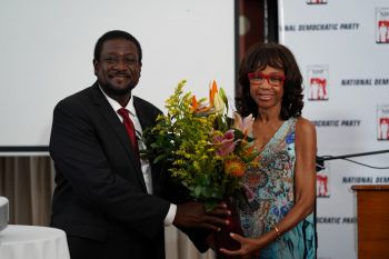 Presentation of a token of appreciation to Mrs Lorna G. Smith at the NDP Convention. Photo: Provided