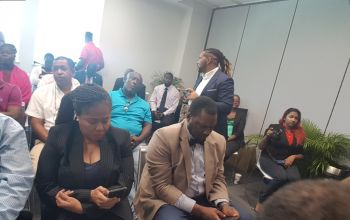 Some of the persons at the press conference today, May 7, 2019 at the Arbitration Centre on Wickham's Cay II, on the main island of Tortola. Photo: VINO