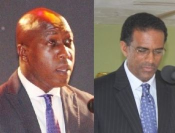 Deputy Premier and Minister for Natural Resources and Labour Dr The Honourable Kedrick D. Pickering (R7), right, and Education and Culture Minister Hon Myron V. Walwyn (AL), left. are the main contenders for President of the National Democratic Party (NDP) and ultimately Premier. Photo: VINO/File