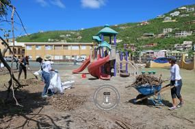 More clean-up efforts at the Francis Lettsome Primary School on Friday, November 3, 2017 by a group of volunteers consisting of persons from the community, the ministry, parents and staff. Photo: GIS