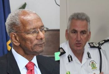 The Administration of Premier Dr The Honourable D. Orlando Smith (AL), left, has been under heavy criticism for its perceived lack of making crime fighting a priority and gutting the police operations budget from time they took office in 2011. Right: Commissioner of Police Mr Michael Matthews is appealing for calm following the two brutal murders of two local men. Photo: VINO/File