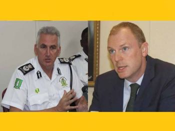 On Friday, December 14, 2018, Governor of the Virgin Islands (VI) (Right), Augustus J. U. Jespert noted that the report on Hon Welwyn's ESHS wall was sent to the Police for further action. Photo: VINO/File