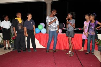 Students of the Francis Lettsome Primary performing a skit at the show. Photo: VINO