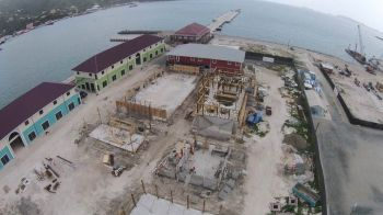 An overhead view of the landside development of the cruise pier project. Photo: BVIPA