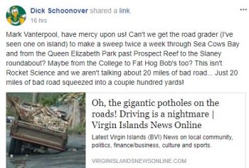 The VINO story shared on BVI Community Board, which has created an avenue for many to share their views about the Territory's roads. Photo: Facebook