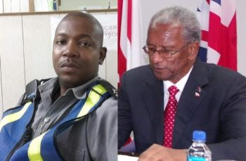 The Premier's Police Driver Jevon Tyson (left) was the only one in the SUV at the time and escaped without injury. Premier Dr The Hon D. Orlando Smith was at the time in attendance at Miss BVI 2016 Pageant. Photo; Facebook/VINO