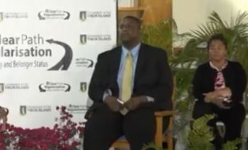 Premier and Minister of Finance, Hon Andrew A. Fahie (R1) at the Thursday, May 23, 2019, Town Hall meeting in Valley, Virgin Gorda (VG). Photo: Facebook