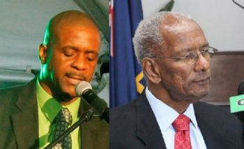 Senior Opposition Member Hon Andrew A. Fahie (R1), right, in a statement said it is clear that the repositioning of the Questions and Answers to the bottom of the Order Paper by Premier Dr The Hon D. Orlando Smith (left) was an indication of the Government's lack of commitment to transparency and good governance. Photo: VINO/File