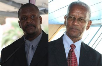 Opposition Leader and Chairman of the Virgin Islands Party Hon Andrew A. Fahie (R1), left, peppered the Premier and Leader of Government Business Dr The Honourable D. Orlando Smith (AL), right, with questions over the controversial $7 Million bailout of BVI Airways in exchange for direct flights from Miami to Beef Island. Photo: VINO/File