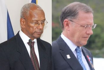 Premier Dr The Honourable D. Orlando Smith (left) wants the Virgin Islands to have a say in the Brexit negotiations and not just to be consulted. This is left to be seen since the local governor Mr John S. Duncan OBE (right) continues to be a strong arm and dictate to the Smith Administration. Photo: VINO/File
