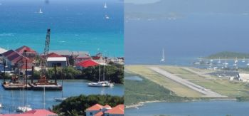 Wheatley said the Tortola Pier Park (left) and the Airport Runway Extension Project (right) are examples where major projects were done without the public getting a full say in the decision making process. Photo: VINO/File