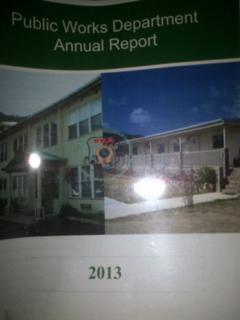 The 2013 annual report of the Public Works Department tabled in the House of Assembly during the First Session of the Fourth Sitting of the Second House of Assembly on Monday November 10, 2014. Photo: VINO