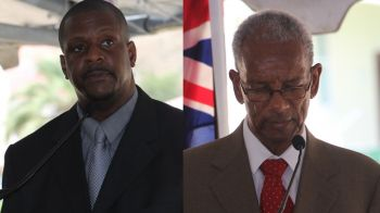 Opposition Leader Hon Andrew A. Fahie (R1), left, will be asking Premier and Minister of Finance Dr The Honourable D. Orlando Smith (AL), right, about his audit of the ports project when the House of Assembly convenes on April 18, 2017. Photo: VINO/File