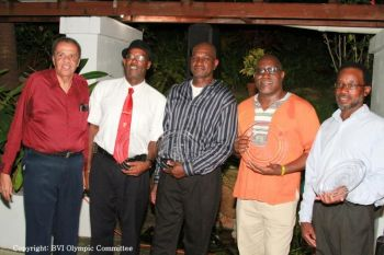 (L-R) BVIOC Past President, Rey O'Neal with Guy Hill, Lindel Hodge, Dean Greenaway, and Kenneth Fraser representing his nephew, Errol Fraser, the honouree 1984 Olympians in attendance at a celebratory event to mark the 30th anniversary of the BVIOC. Photo: BVIOC