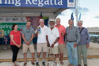 Best VI Boat and winner of CSA Bareboat 3, veteran VI sailor, Dr Robin Tattersall and crew. Photo: Alastair Abrehart