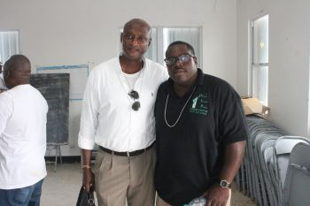 Rajah A. Smith (right) stands with potential Ninth District candidate Elton L. Sprauve aka 'All Out'. Photo: VINO