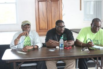 Chairman of the VIP Hon Julian Fraser RA (R3), Chairman of the Ready Committee Rajah A. Smith (centre) and President of the VIP Carvin Malone (right) at the Anegada meeting on April 19, 2015. Photo: VINO