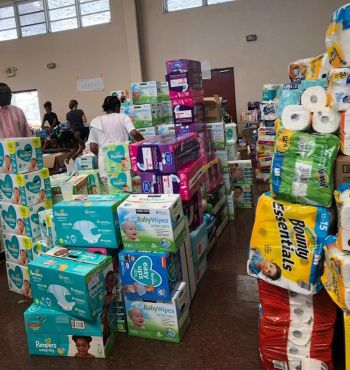 Bermudians get ready relief supplies for hurricane hit Bahamas. Photo: Provided