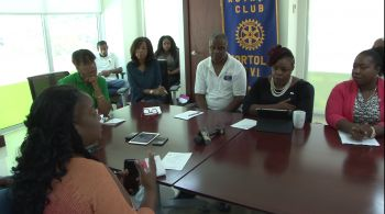 President of the Rotary Club of Tortola Mrs Karia J. Christopher fielding a question from a reporter at a press conference on Friday August 11, 2027 in the conference room of BVI Finance, Cutlass Tower, Road Town. Photo: VINO
