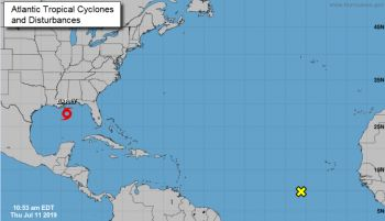 The Department of Disaster Management (DDM) says it is monitoring a Tropical Wave currently located near 8N, 32W and moving westward near 17 mph in the eastern Atlantic Ocean. Photo: DDM