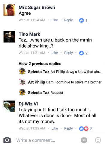 The Facebook posts criticising the line-up of international artistes for VI Emancipation Festival 2017. Photo: Facebook