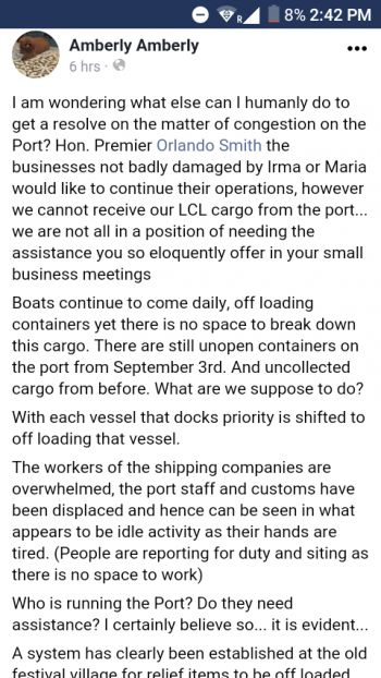A concerned resident voicing her concerns about the congestion of the Port on her Facebook social media on Friday September 27, 2017. Photo: Facebook