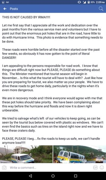 Dawne G. Weeks, a resident appealing for the bad roads to be fixed, while pointing out that Hurricane Irma is not to be blamed. Photo: Facebook