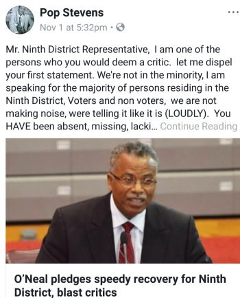 The Facebook post by Mr Pop Stevens slamming Ninth District Representative Hon Hubert O'Neal. Photo: Facebook