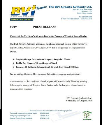 Airports across the Virgin Islands will be closed today, August 28, 2019. Photo: Facebook