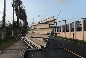 According to media outlet Bernews, the storm snatched a metal spectator stand from the Bermuda National Sports Centre and tossed it over the fence, leaving it in the road nearby. Photo: Twitter