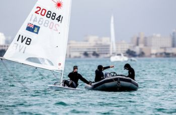 While poor wind speed ended the series ahead of time, a starting penalty on Day 2 further destroyed Lettsome's prospects of victory at the top of the charts. Photo: Hempel World Cup Miami
