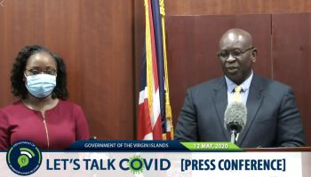 While Premier Andrew A. Fahie has always kept his mask on during COVID-19 broadcasts, this is not the first time that Health Minister, Hon Carvin Malone has removed his. Earlier in the week at a Tuesday, May 12, 2020, press conference with the media, the Minister asked for an excuse to do the same. Photo: GIS/File