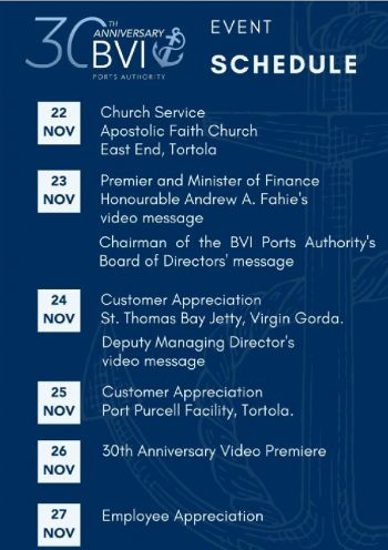BVIPA 30th anniversary schedule of events. Photo: Provided