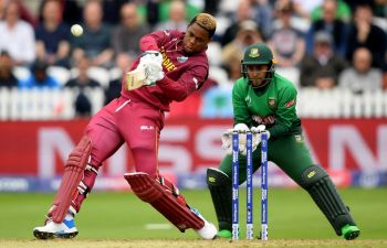 The entertaining West Indies batsman Shimron O. Hetmyer delivered a brutal 26-ball 50 to boost the West Indies total against Bangladesh in their ICC World Cup match in Taunton, England, today, June 17, 2019. Photo: The Sports Rush