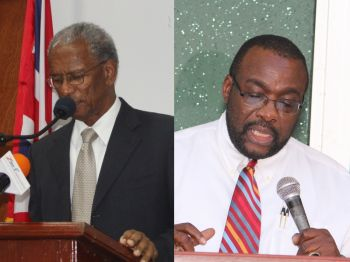 Minister of Finance Dr. the Honourable D. Orlando Smith (left) who had given a public address to the Territory weeks after taking office claiming that the Virgin Islands Party Government left the country broke paid out well over three quarters of a million dollars to the Trinidad based Price Water House Coopers Advisory Services Limited for consultancy. While Dr. Smith signed on behalf of the Government, all purchase orders were signed by the Deputy Financial Secretary Wendell M. Gaskin CFE (right). Photo: File
