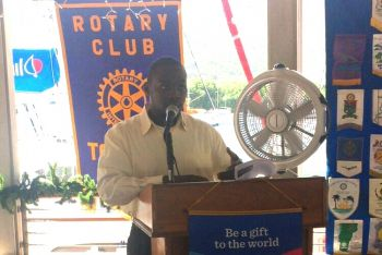 Youth leader Mr Sonniel O. Pickering is seen here speaking at a Rotary Club of Tortola Luncheon. Photo: Provided