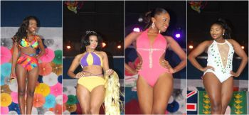 Female contestants during the swimwear segment at the Sir Rupert Briefcliffe Hall in Road Town on Saturday July 29, 2017. Photo: VINO