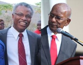It was on October 25, 2017 that the Ninth District Representative Dr The Honourable Hubert O'Neal, left, confirmed that Premier and Minister of Finance Dr The Honourable D. Orlando Smith (AL), right, had met with the IMF and World Bank via an invitation from the UK. Photo: VINO/File